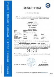 ES certifikát tlakové nádoby